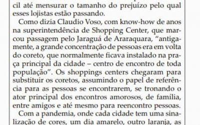 """Folha da Cidade publica matéria da """"live"""" sobre shopping, que teve a participação de Evelyn Rodrigues (Uberlândia) e Telmo Mendes (São Paulo)."""
