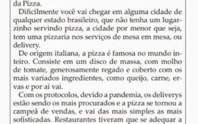 Materia A Pizza nossa de todos os dias!Folha da Cidade de Araraquara ,10 de julho de 2020!